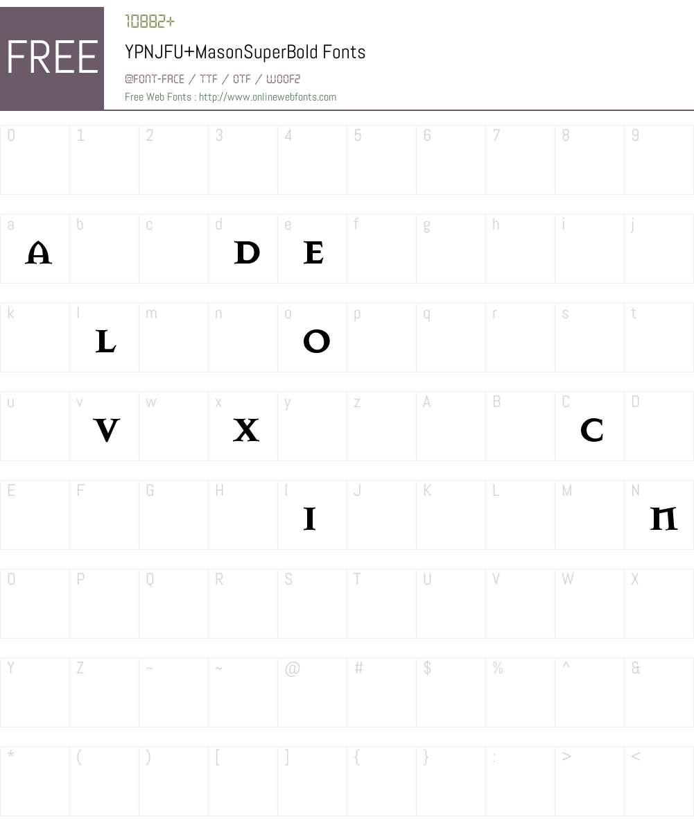 YPNJFU+MasonSuperBold Font Screenshots