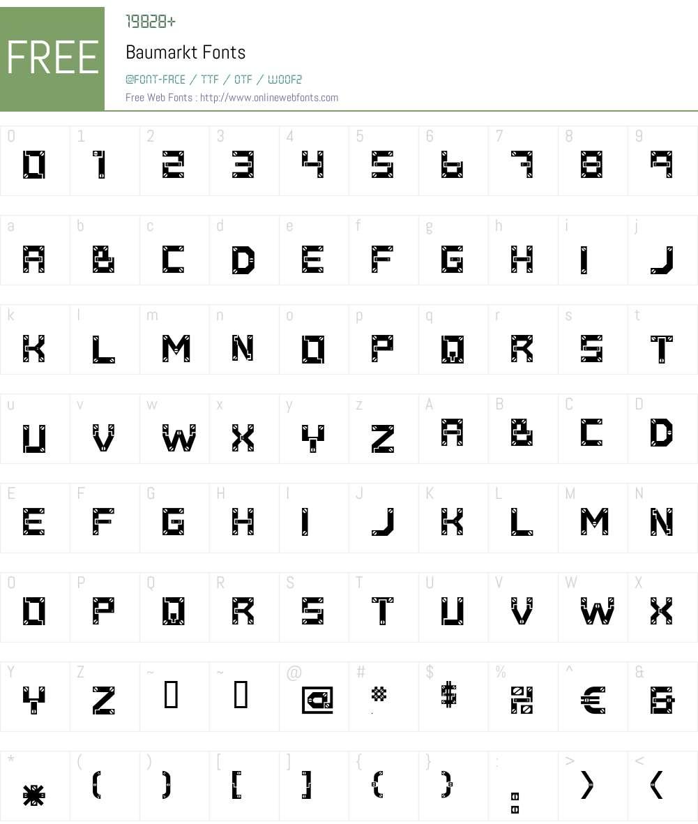 Baumarkt Font Screenshots