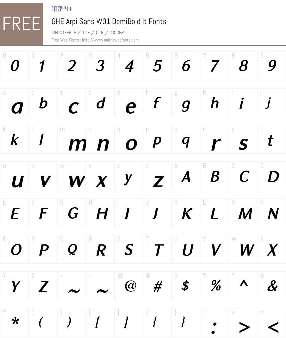 GHEArpiSansW01-DemiBoldIt Font Screenshots