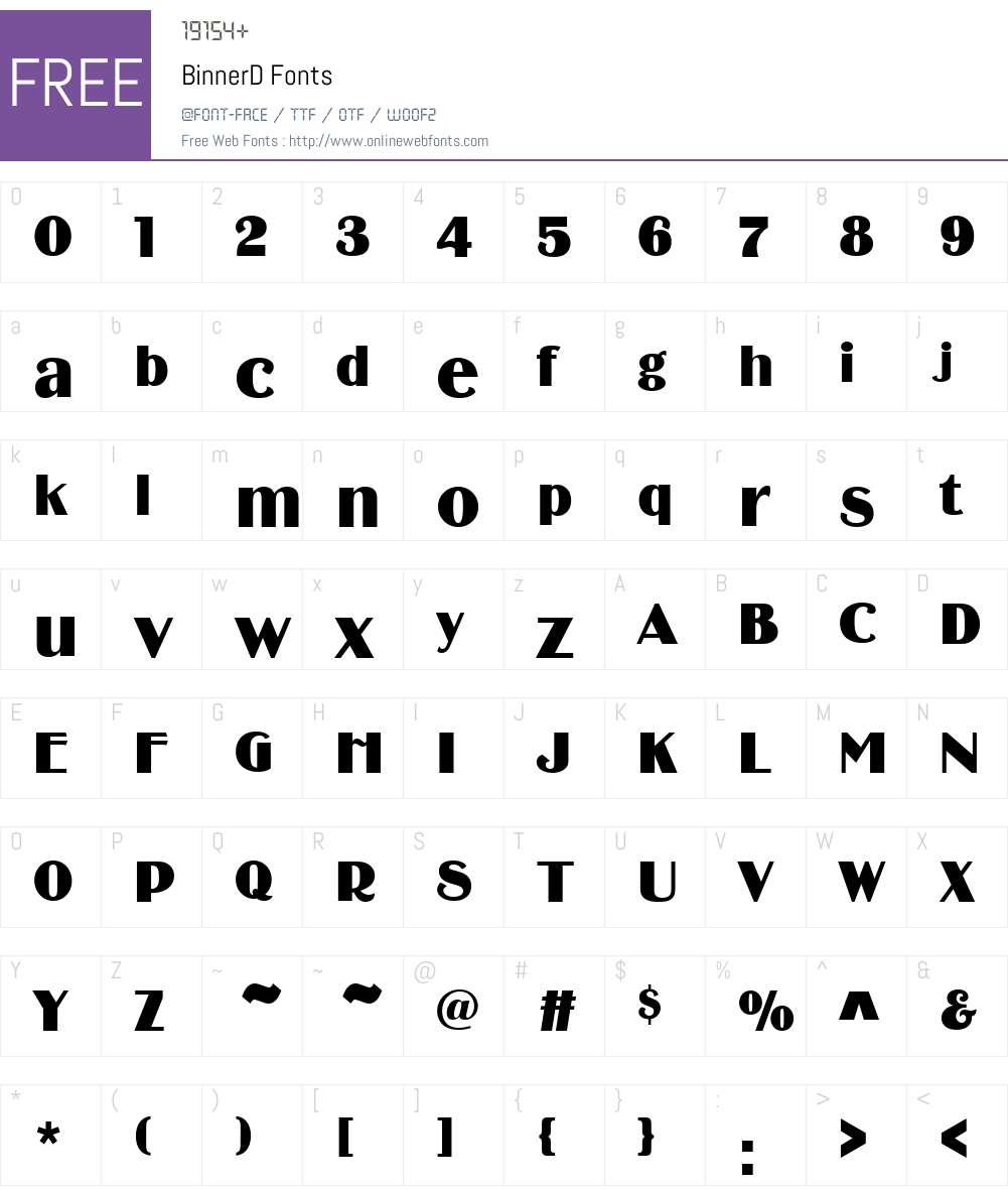 BinnerD Font Screenshots