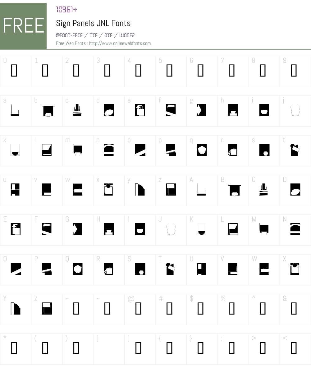 SignPanelsJNL Font Screenshots