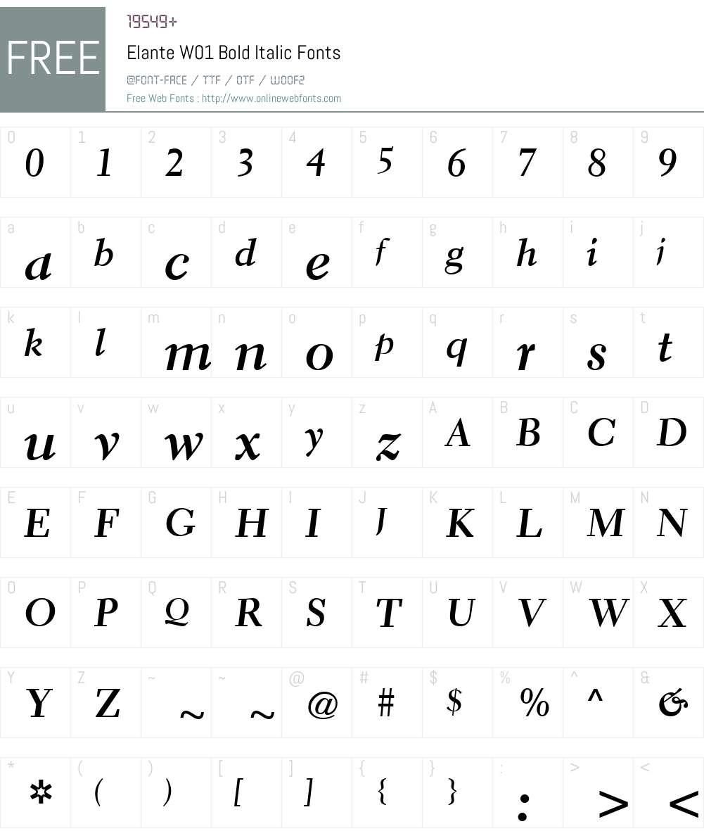 ElanteW01-BoldItalic Font Screenshots