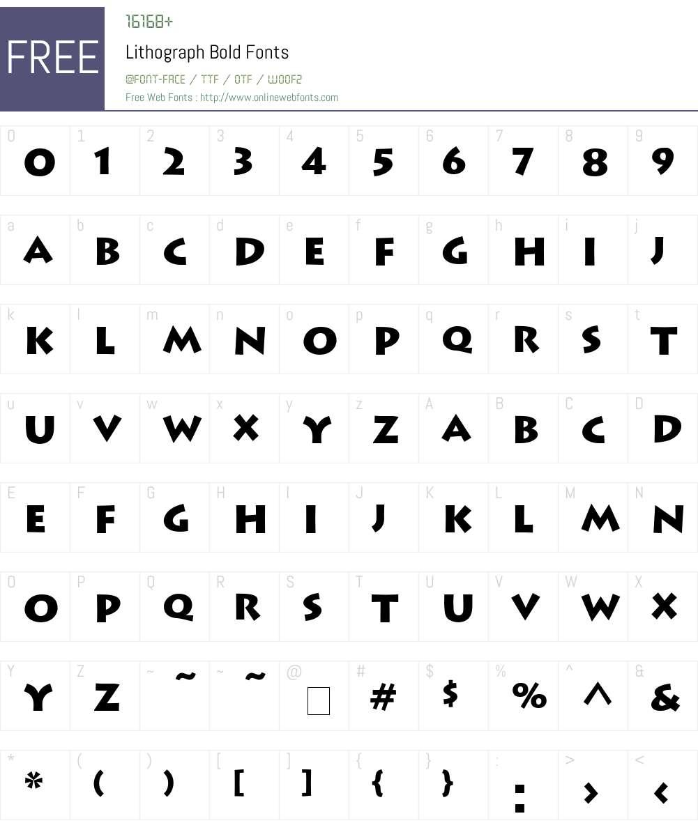 Lithograph Font Screenshots