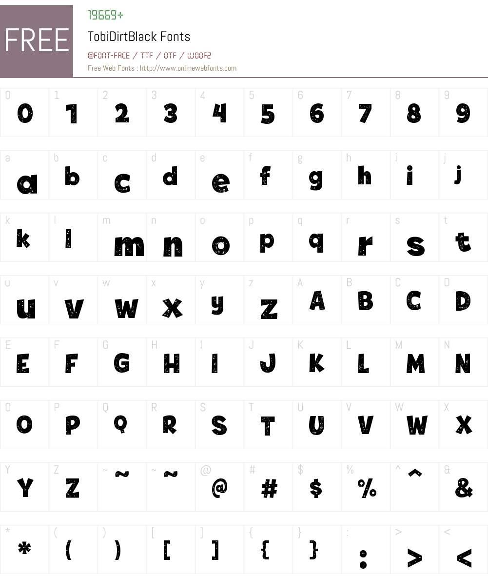 Tobi Dirt Black Font Screenshots