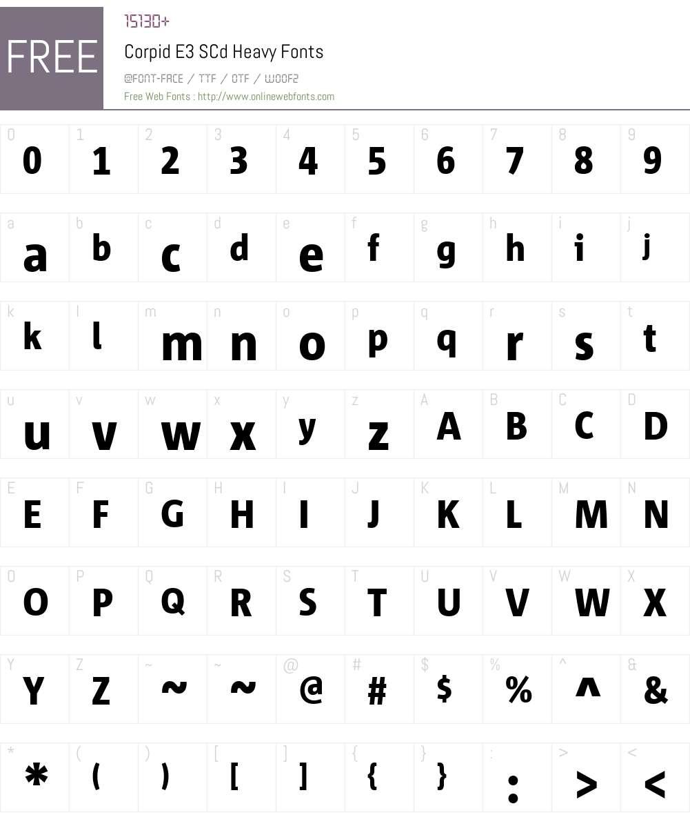Corpid E3 SCd Heavy Font Screenshots