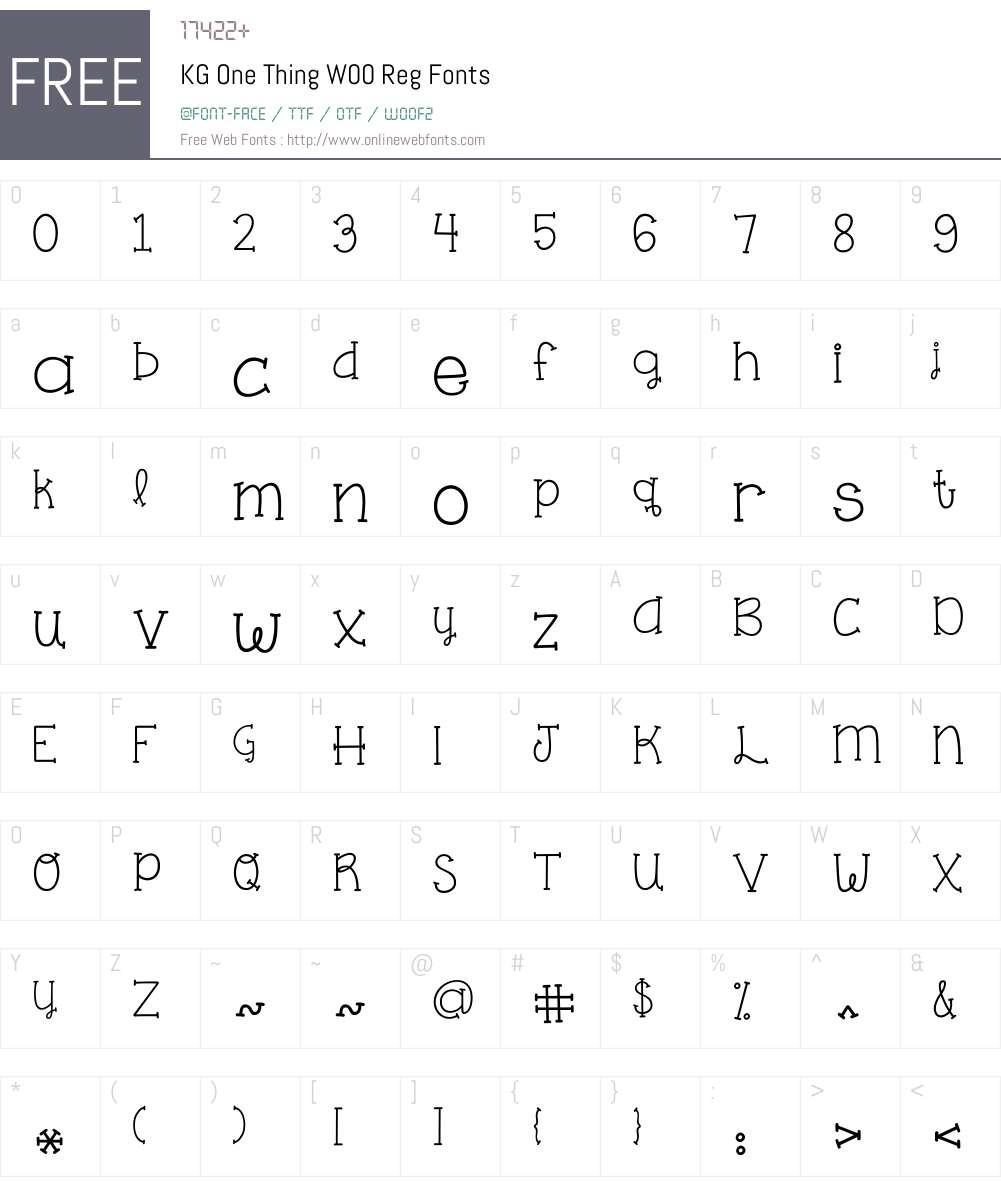 KGOneThingW00-Reg Font Screenshots