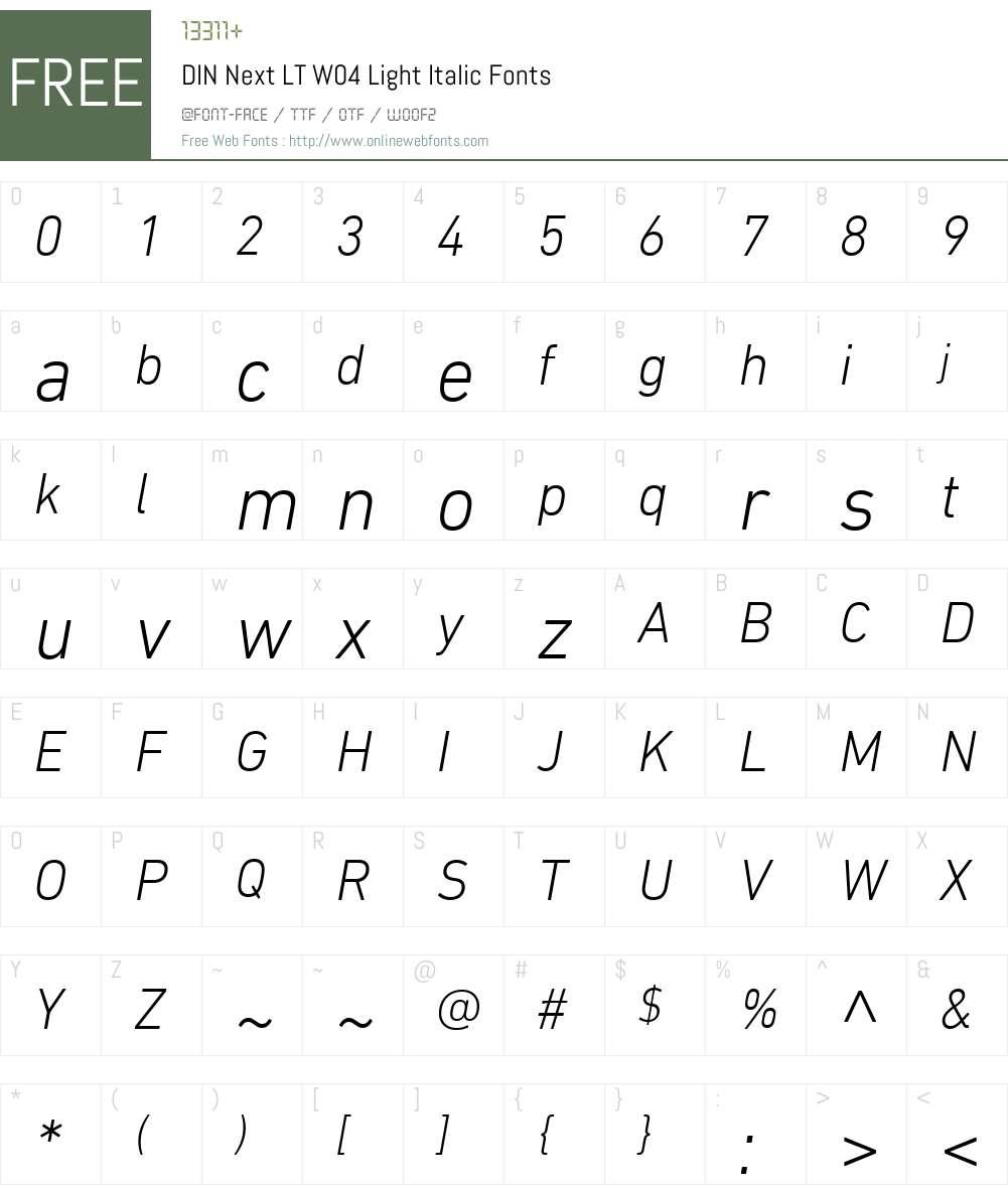 DINNextLTW04-LightItalic Font Screenshots