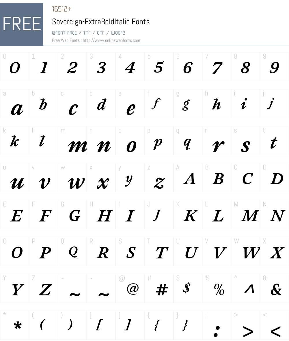 Sovereign-ExtraBoldItalic Font Screenshots