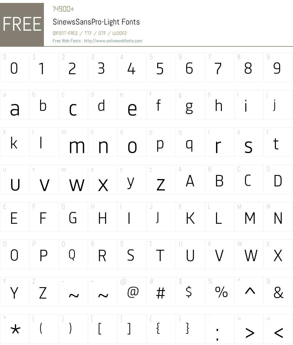 Sinews Sans Pro Light Font Screenshots