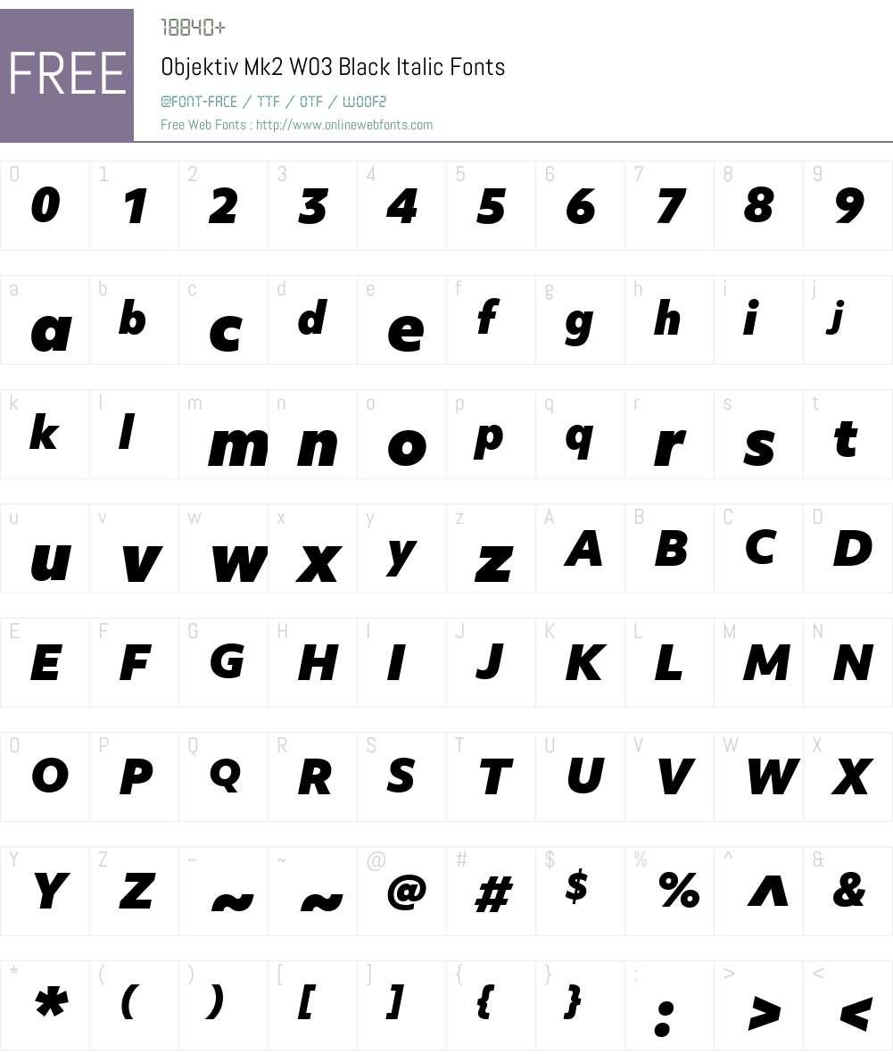 ObjektivMk2W03-BlackItalic Font Screenshots