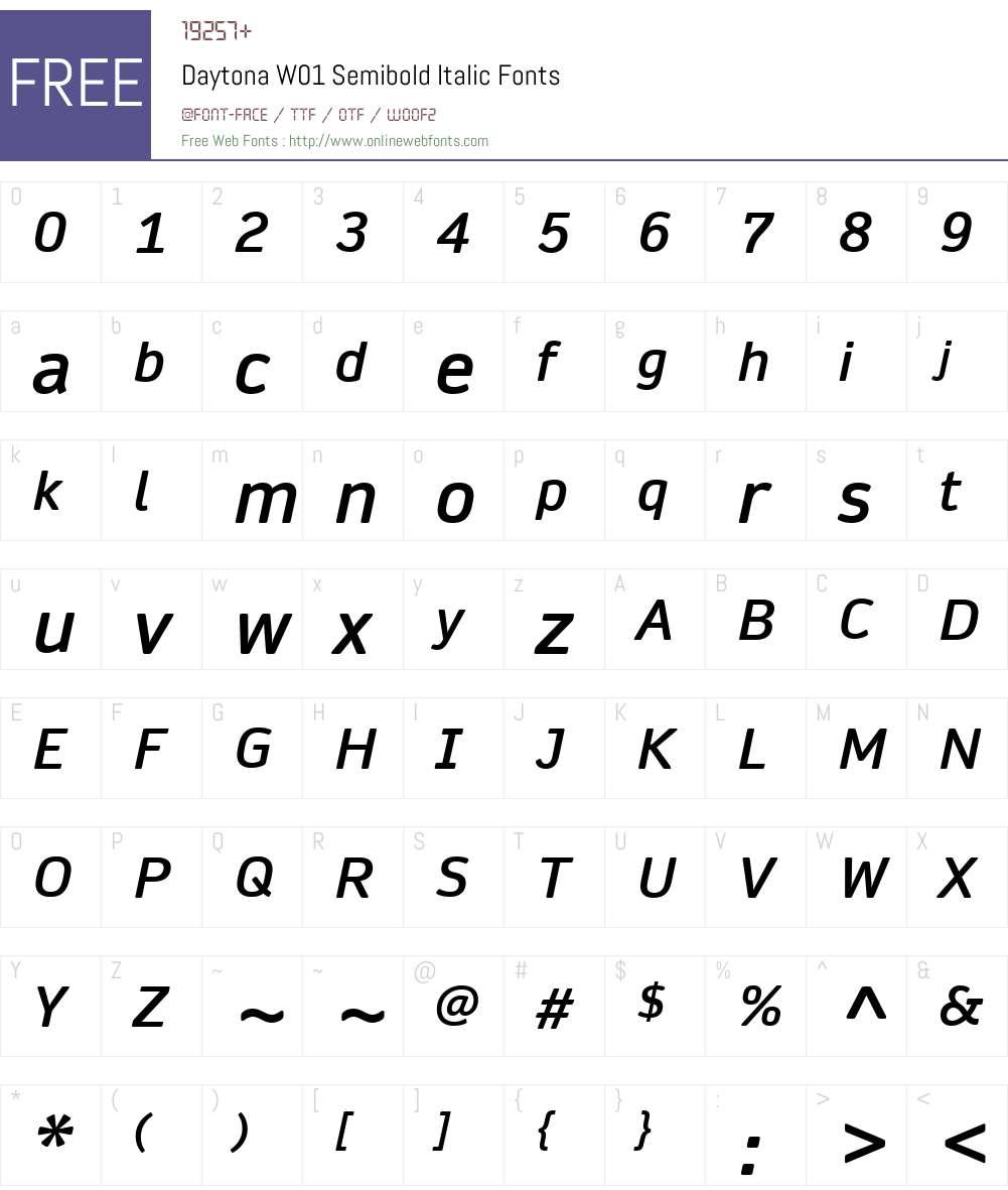 DaytonaW01-SemiboldItalic Font Screenshots