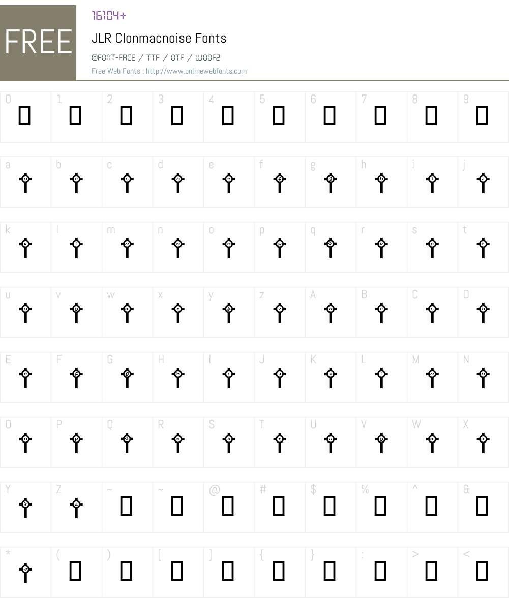 JLR Clonmacnoise Font Screenshots