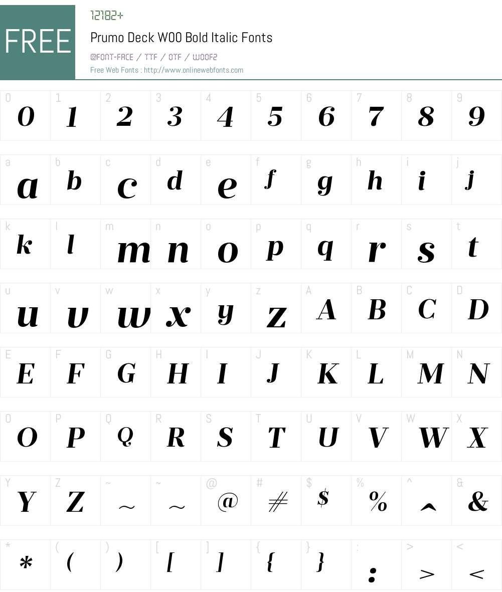 PrumoDeckW00-BoldItalic Font Screenshots