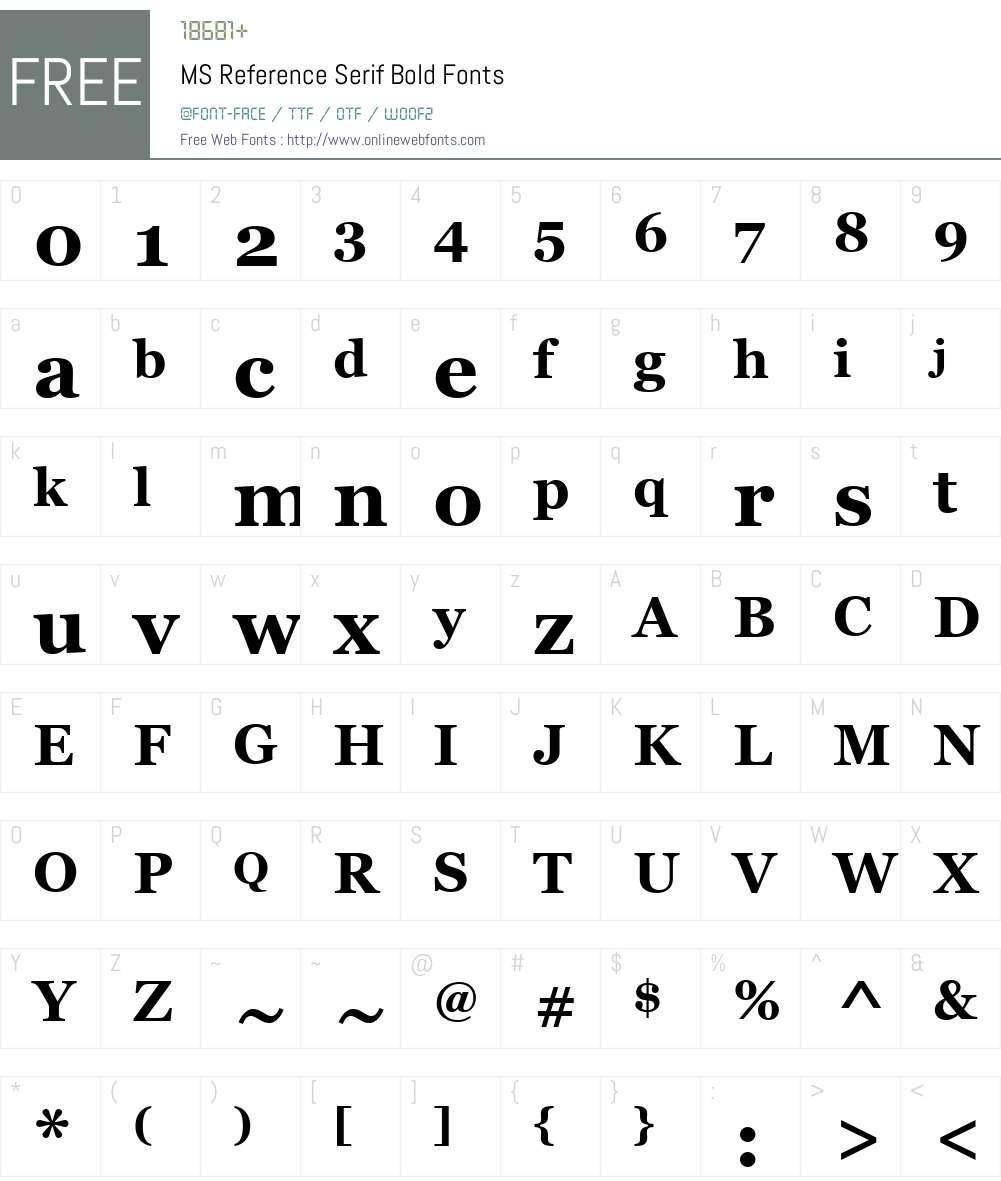 MS Reference Serif Font Screenshots