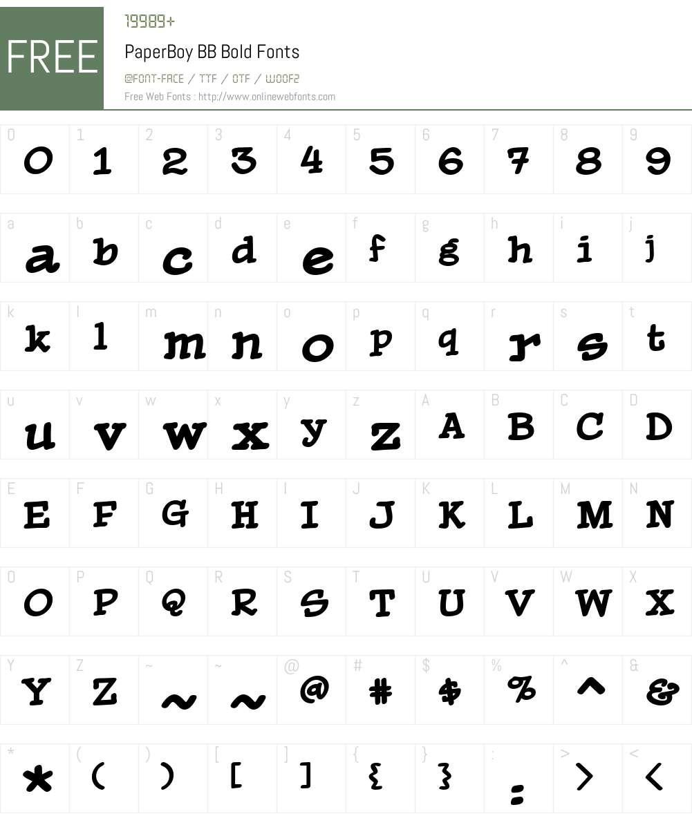 PaperBoyBBBold Font Screenshots