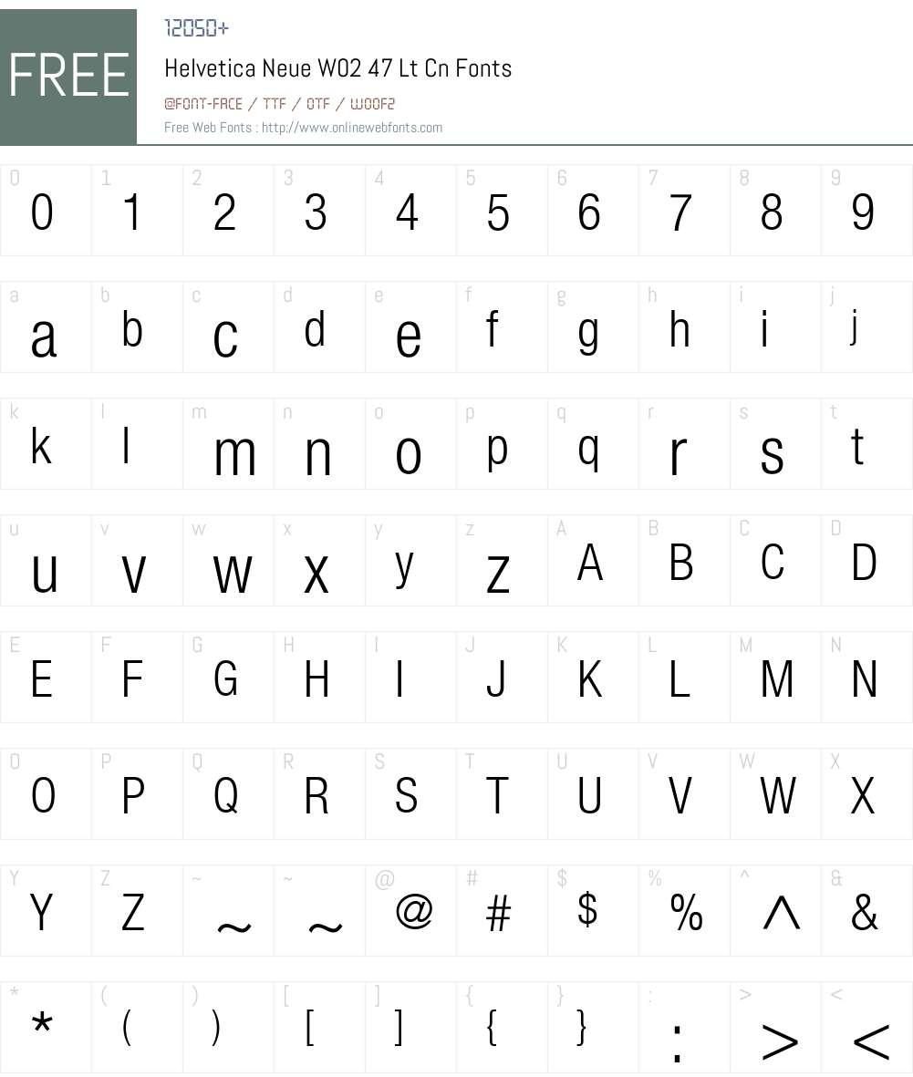 HelveticaNeueW02-47LtCn Font Screenshots