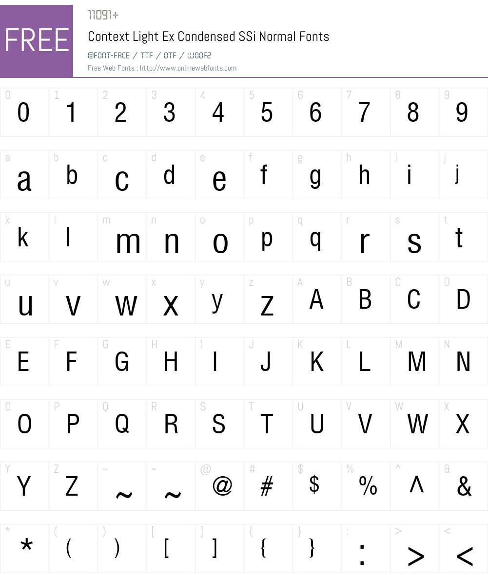 Context Light Ex-Condensed SSi Font Screenshots