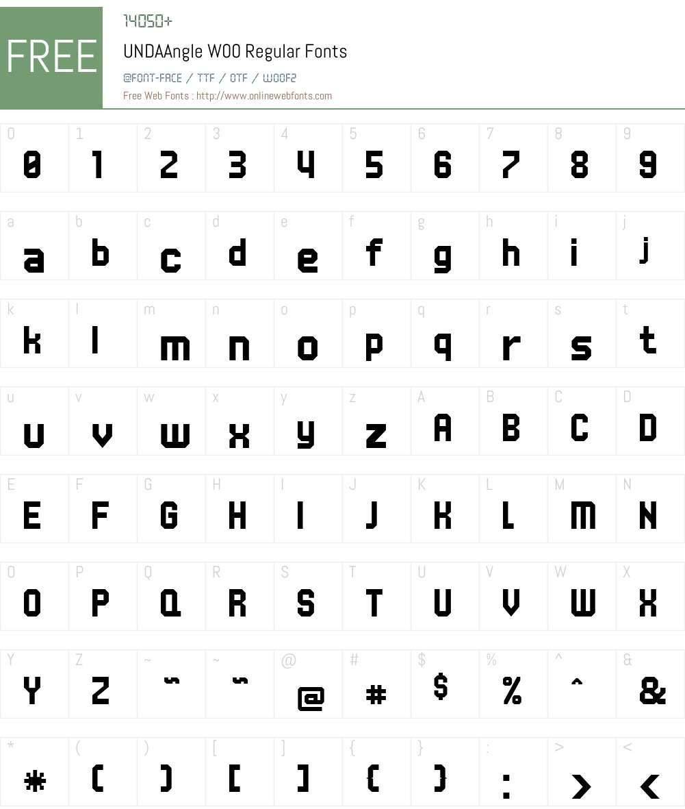 UNDAAngle Font Screenshots