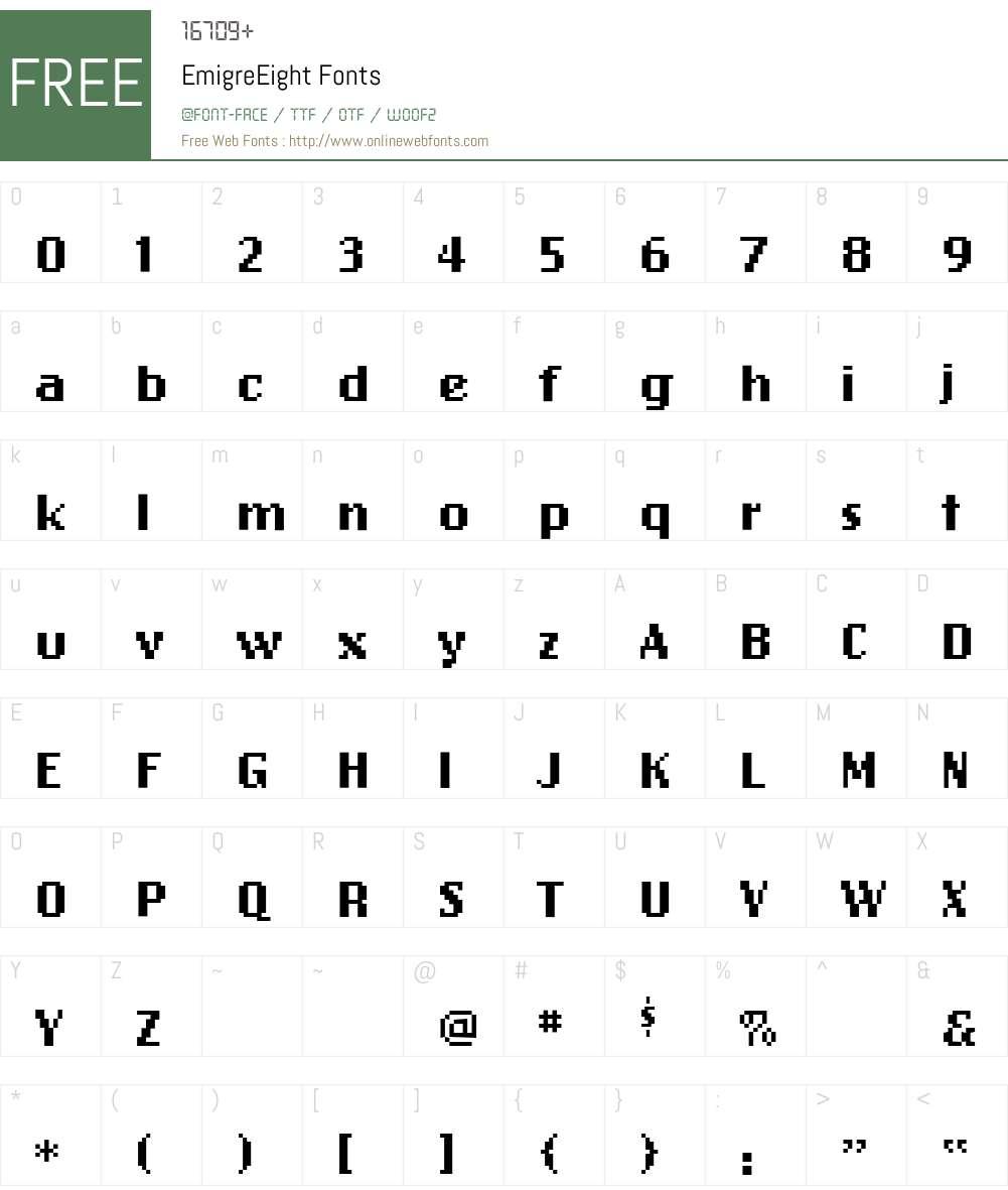 EmigreEight Font Screenshots
