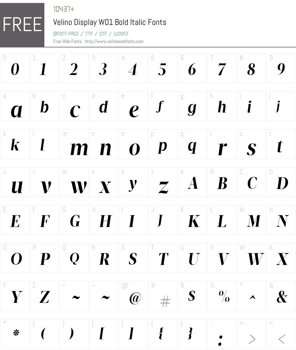 VelinoDisplayW01-BoldItalic Font Screenshots