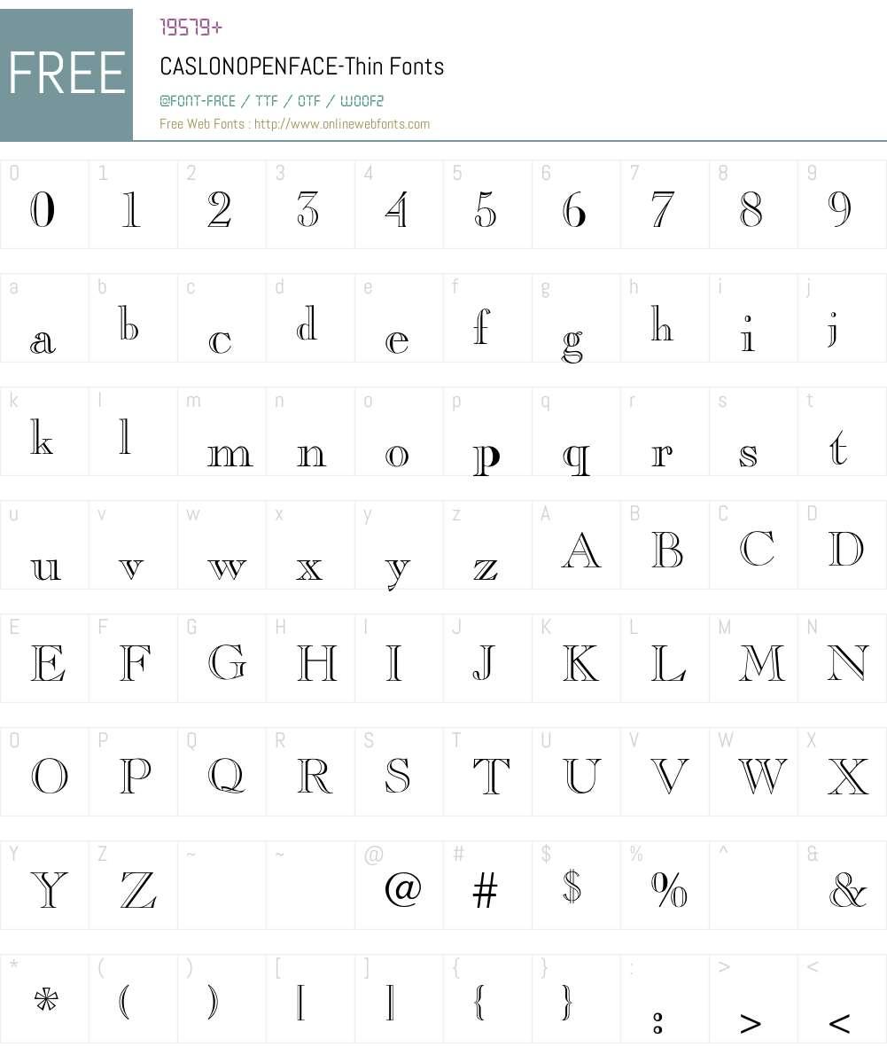 CASLONOPENFACE-Thin Font Screenshots