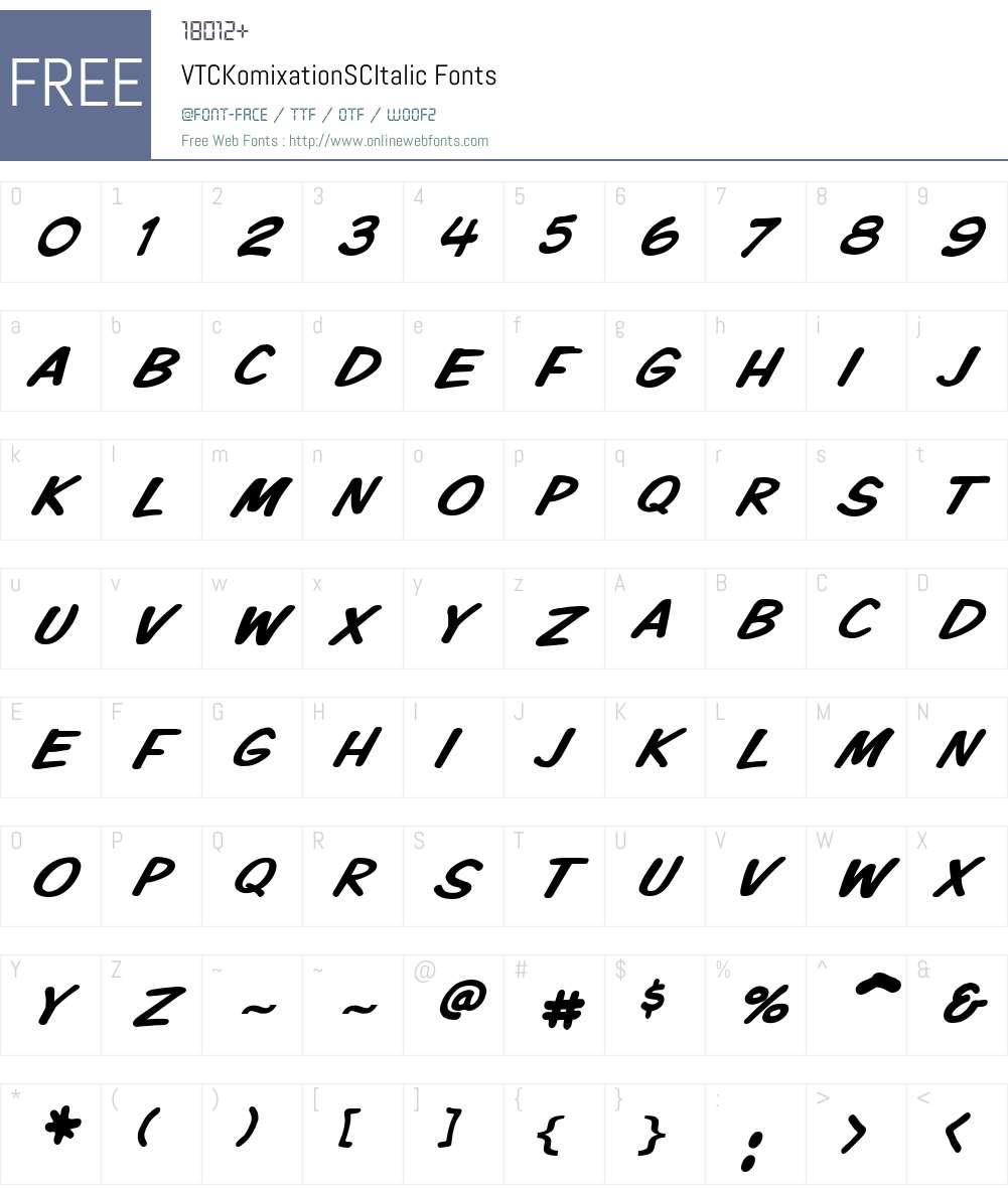VTCKomixationSCItalic Font Screenshots