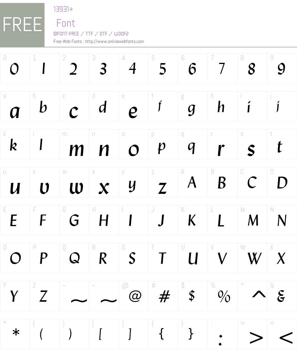 Lydian BT Font Screenshots