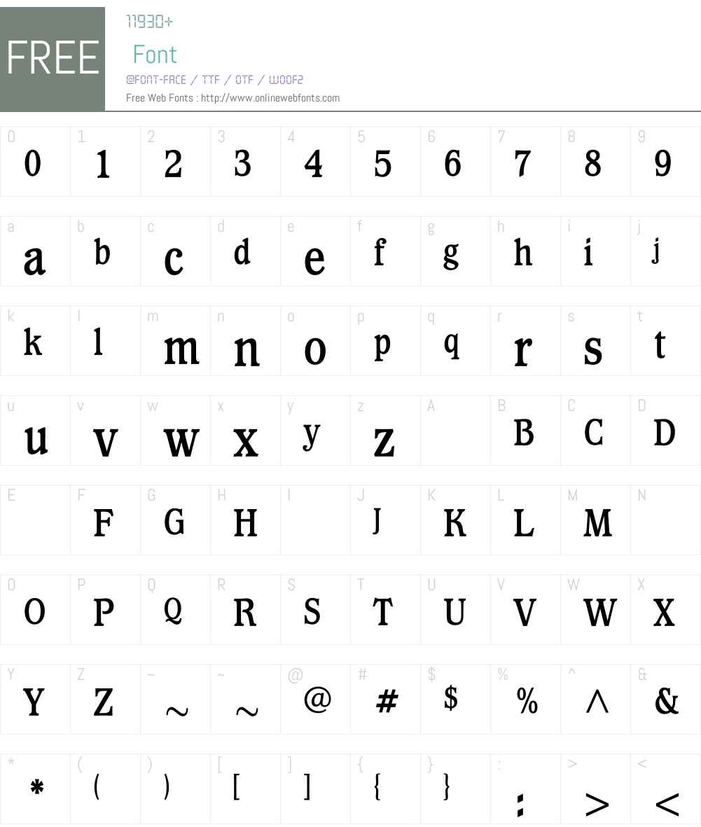 WaverlyBoldCondensed Font Screenshots