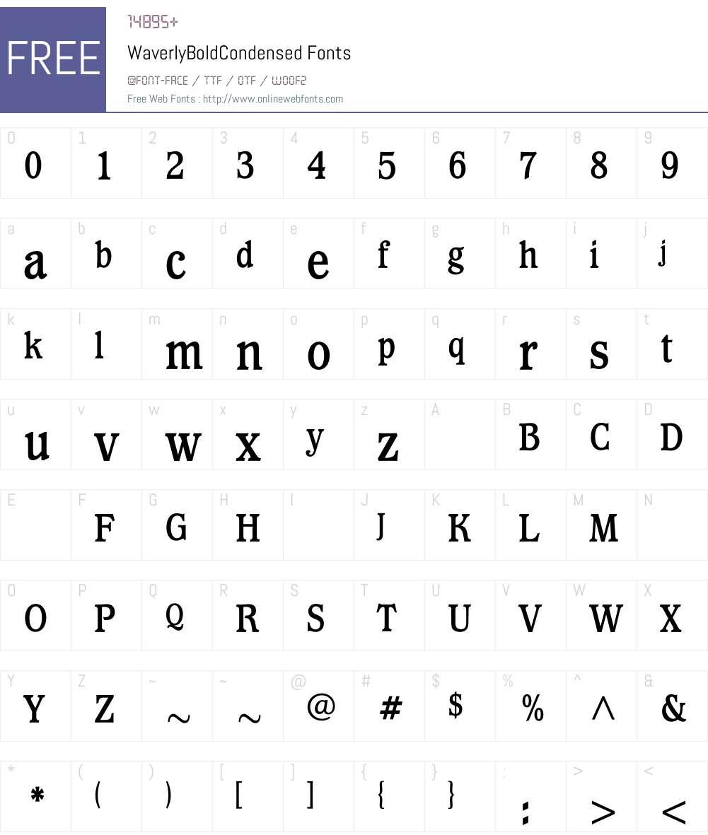 WaverlyBoldCondensed Font Screenshots