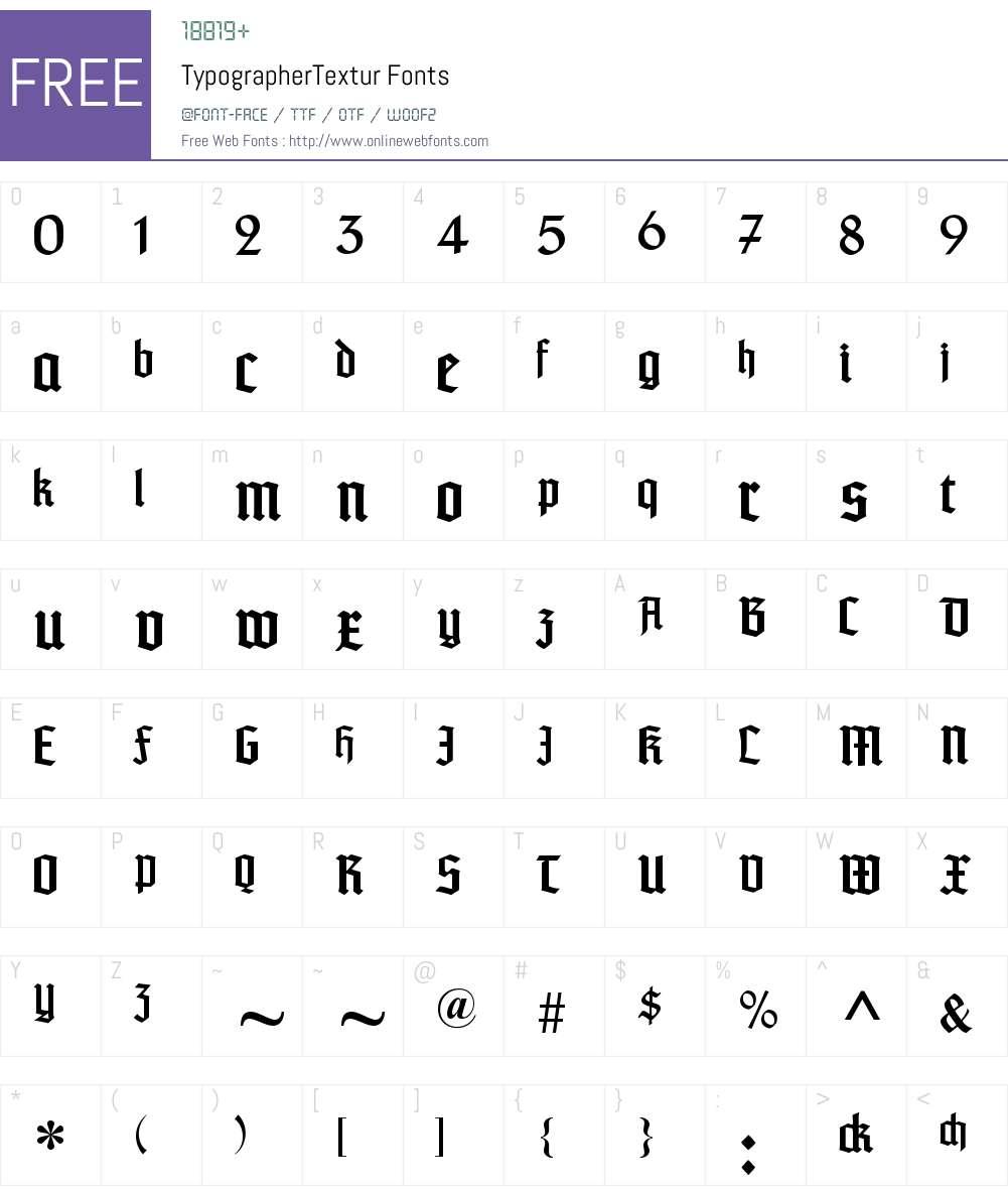 TypographerTextur Font Screenshots
