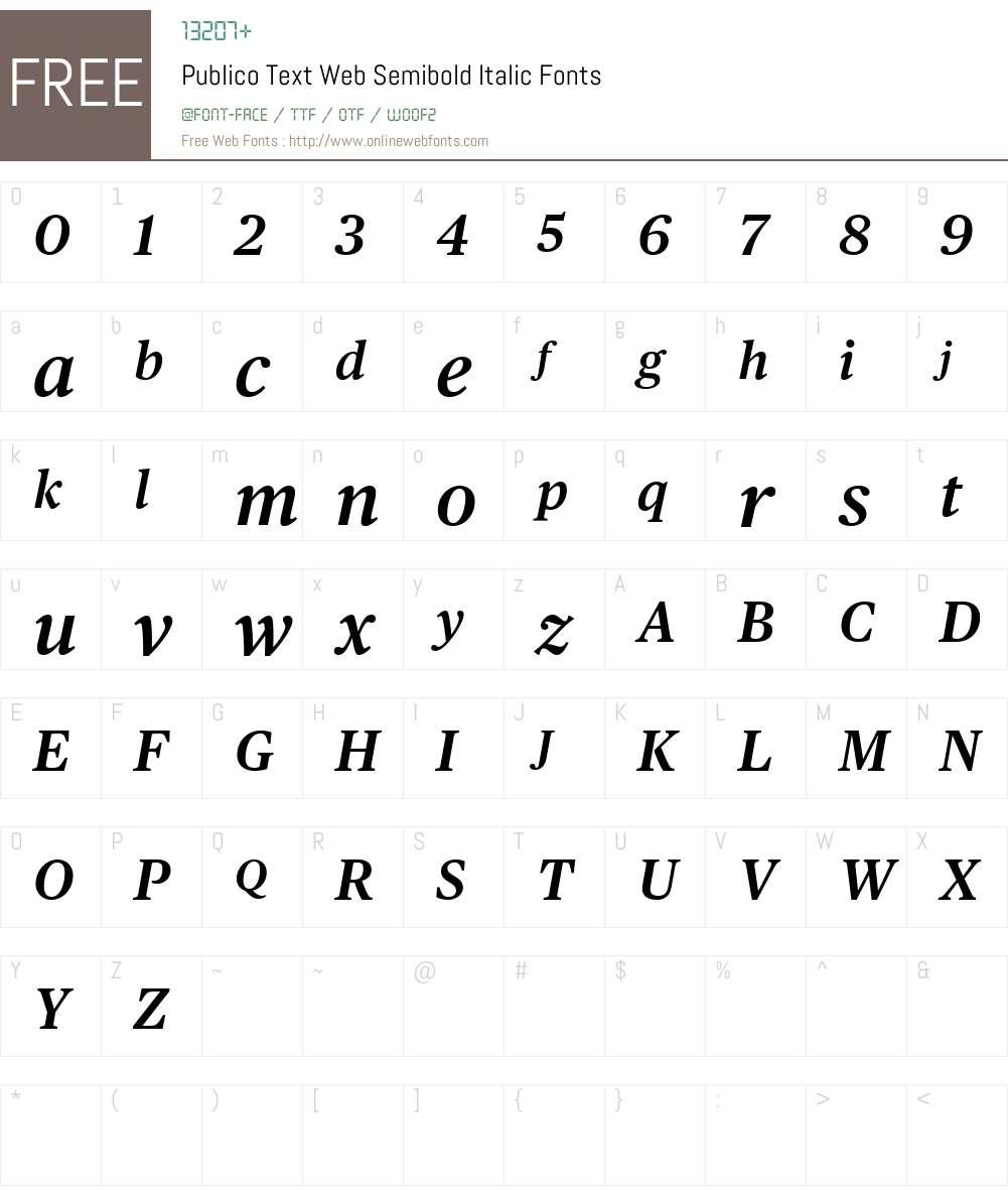 Publico Text Web Semibold Font Screenshots