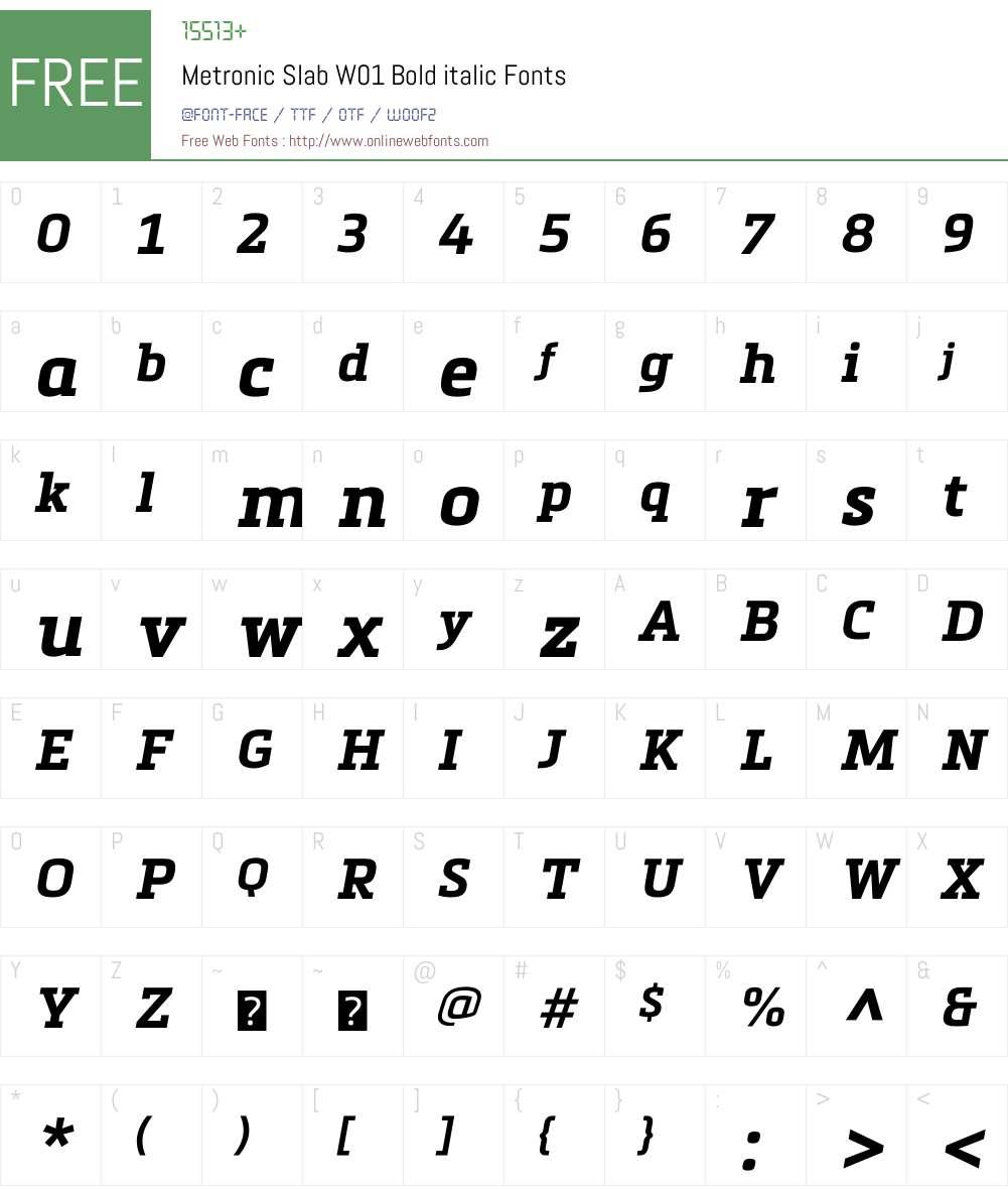 MetronicSlabW01-Bolditalic Font Screenshots