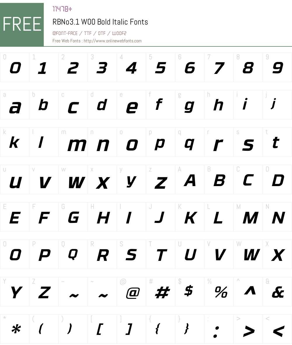 RBNo3.1W00-BoldItalic Font Screenshots