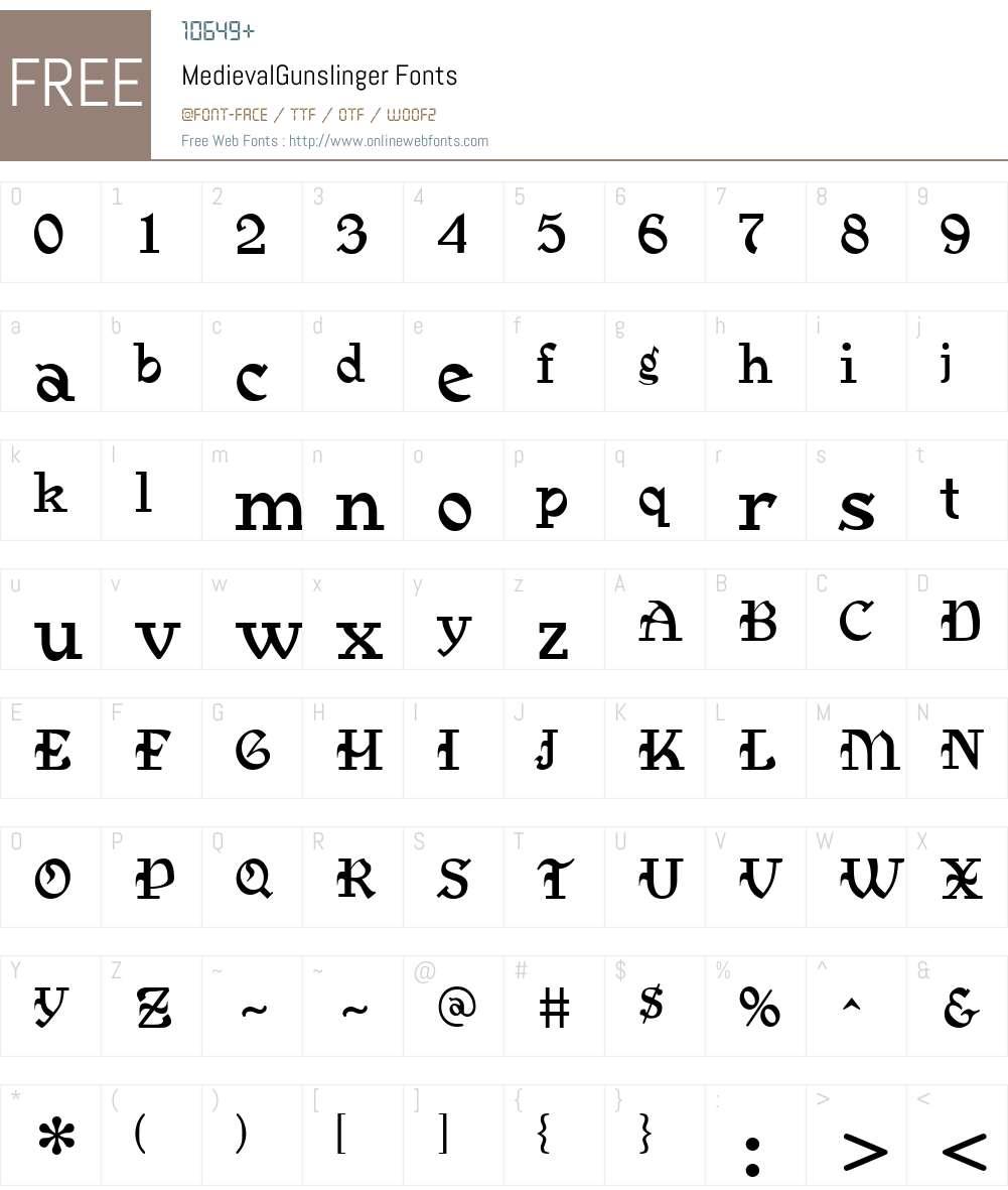 MedievalGunslinger Font Screenshots