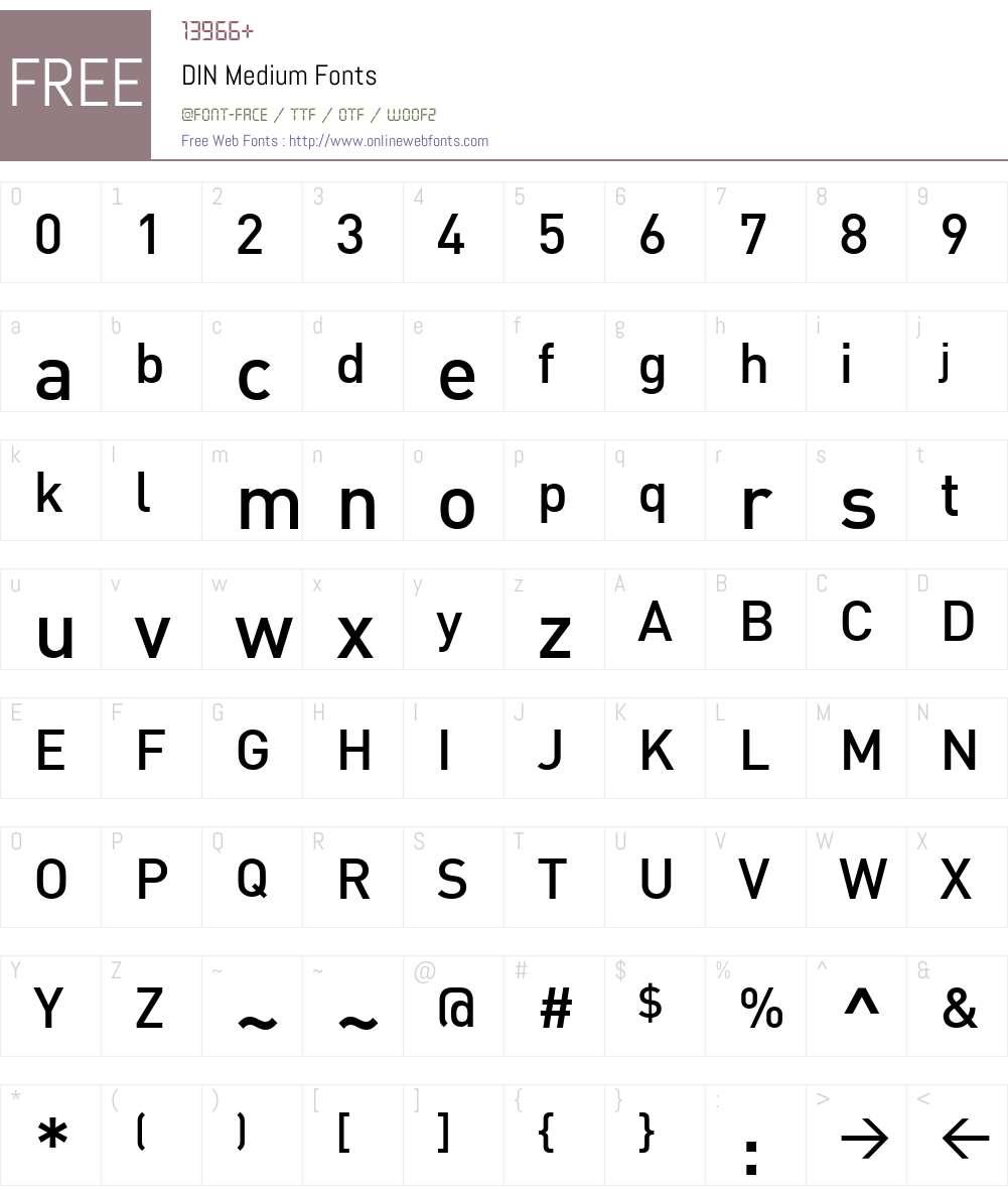 DIN Medium Font Screenshots