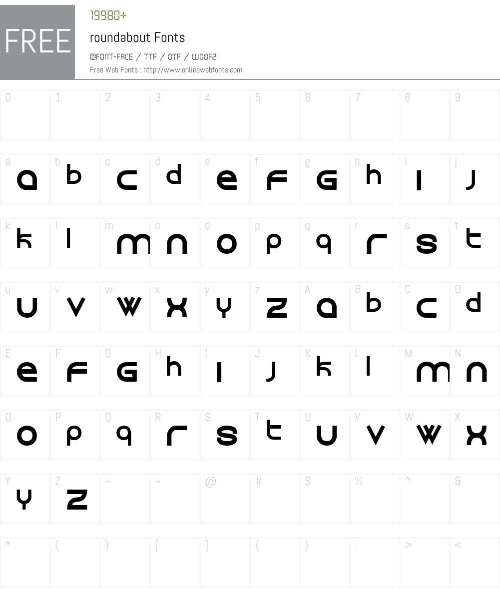 roundabout Font Screenshots