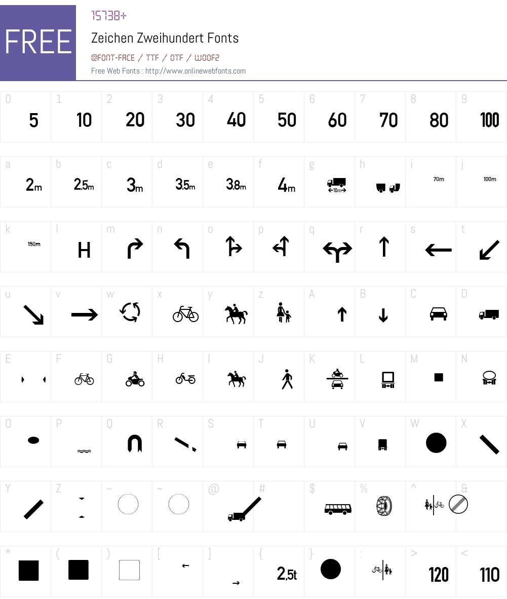 Zeichen Zweihundert Font Screenshots