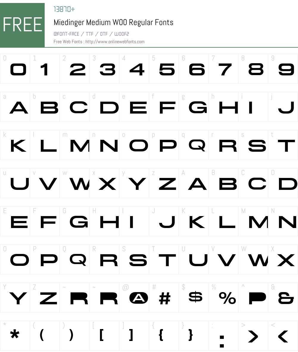 Miedinger Font Screenshots