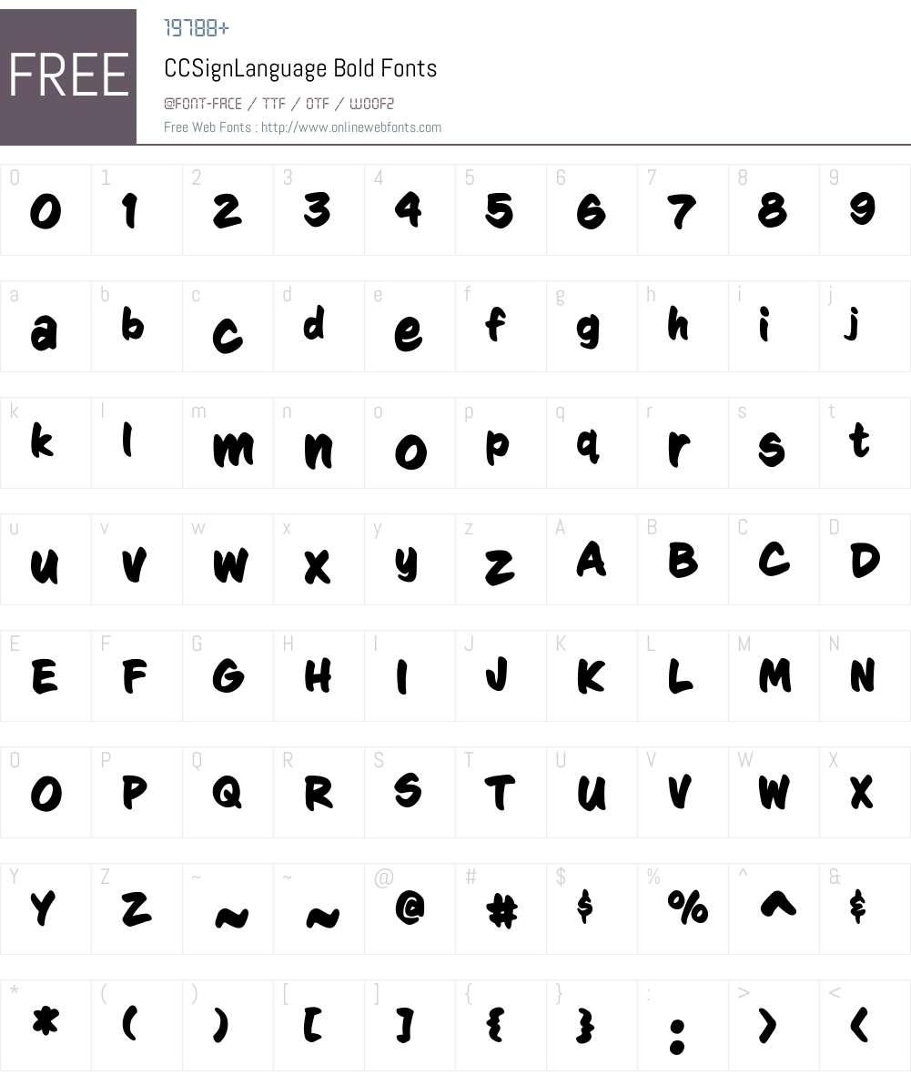 CCSignLanguage-Bold Font Screenshots
