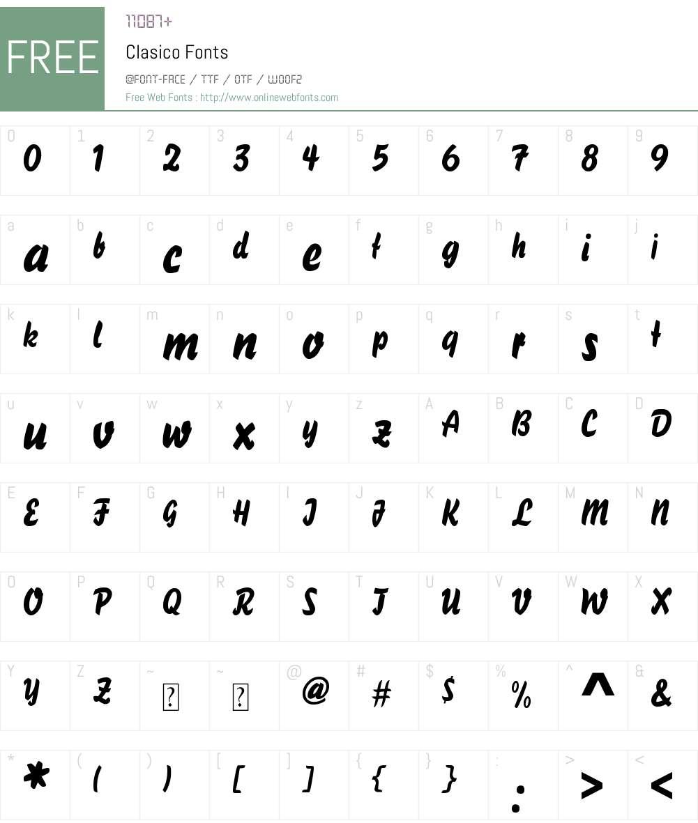 Clasico Font Screenshots