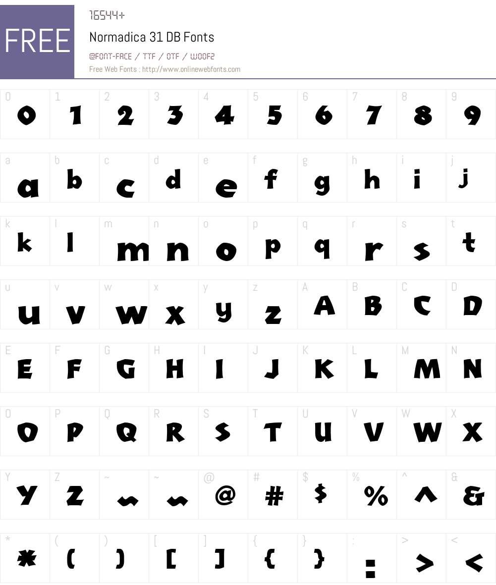 Normadica 31 DB Font Screenshots