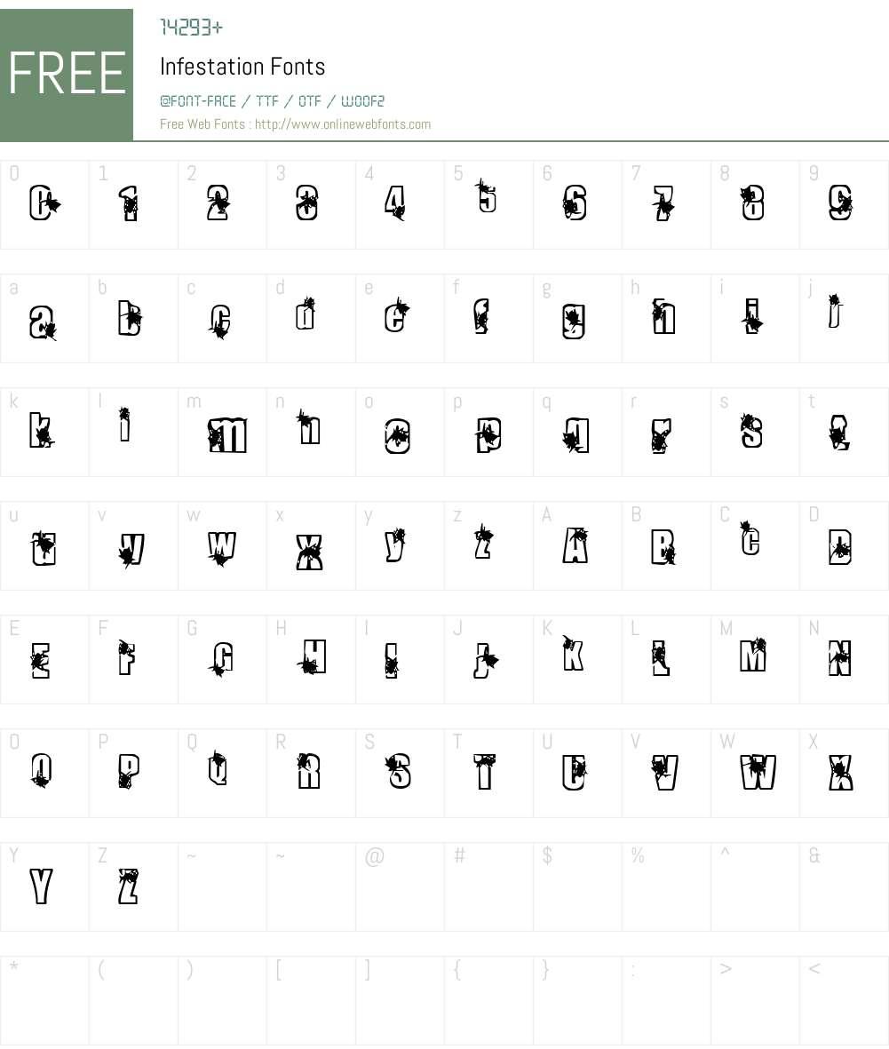 Infestation Font Screenshots
