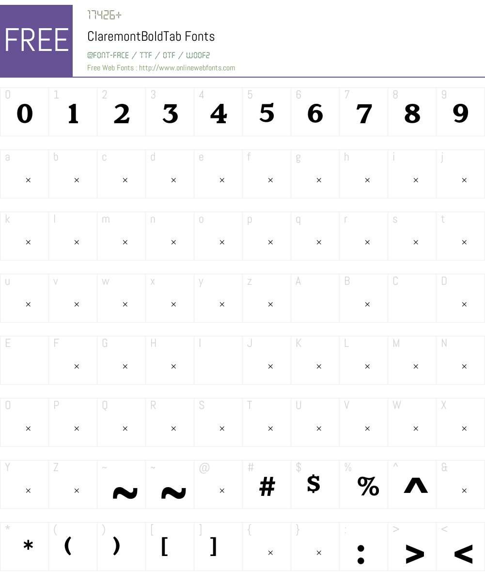 ClaremontBoldTab Font Screenshots