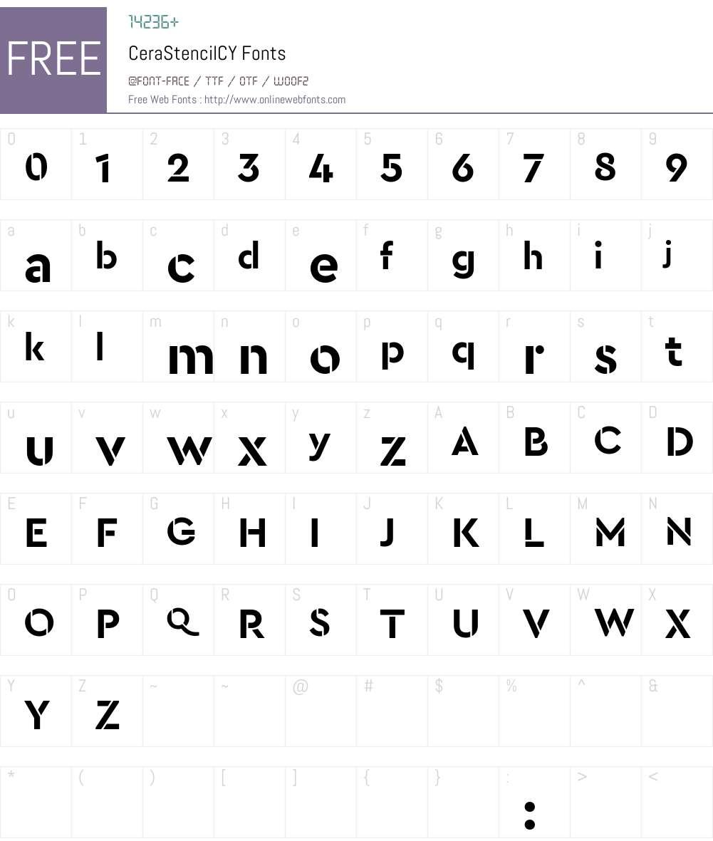 Cera Stencil CY Font Screenshots