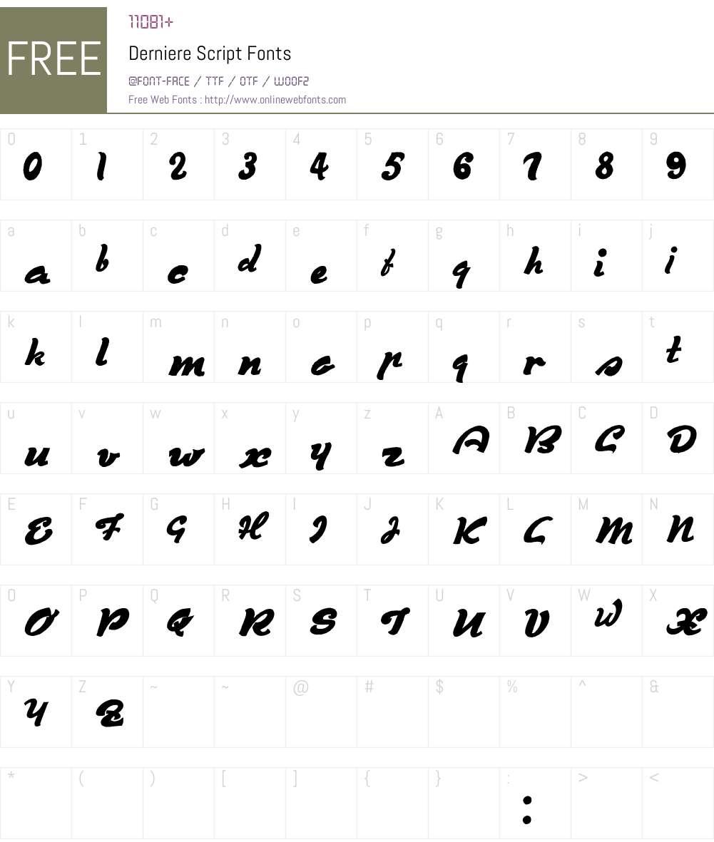Derniere Script Font Screenshots