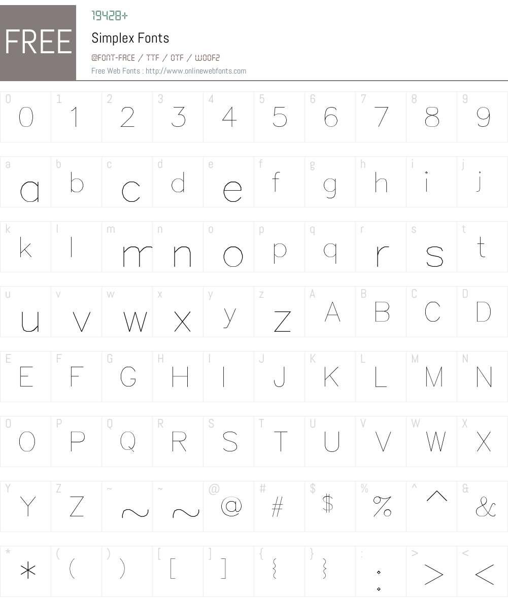 Simplex Font Screenshots