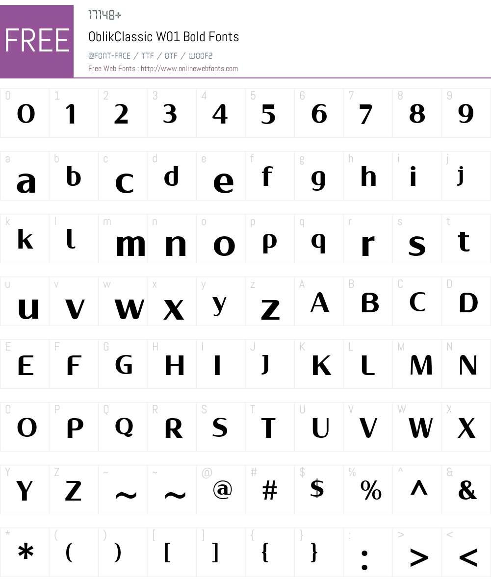 OblikClassicW01-Bold Font Screenshots