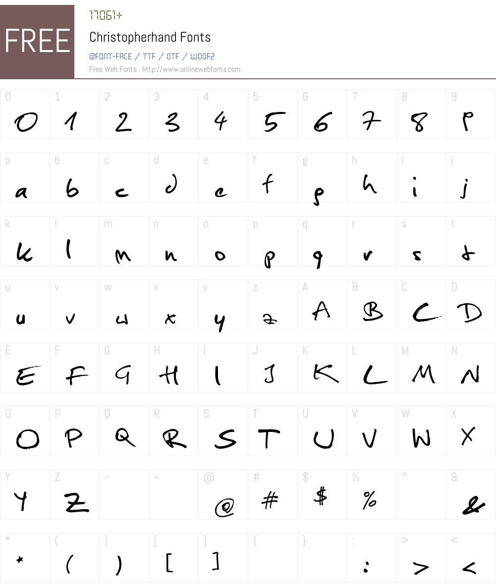 Christopherhand Font Screenshots