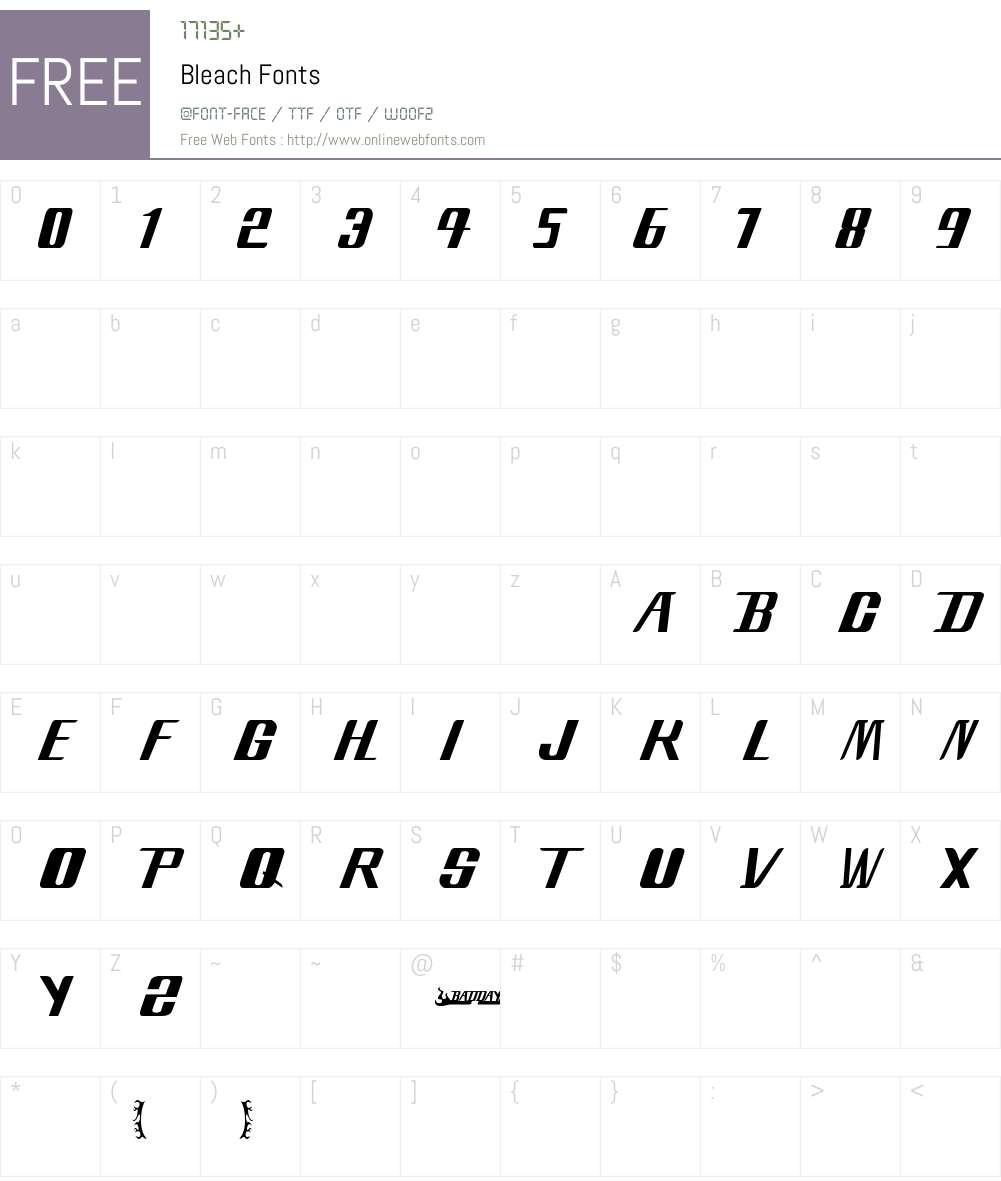 Bleach Font Screenshots