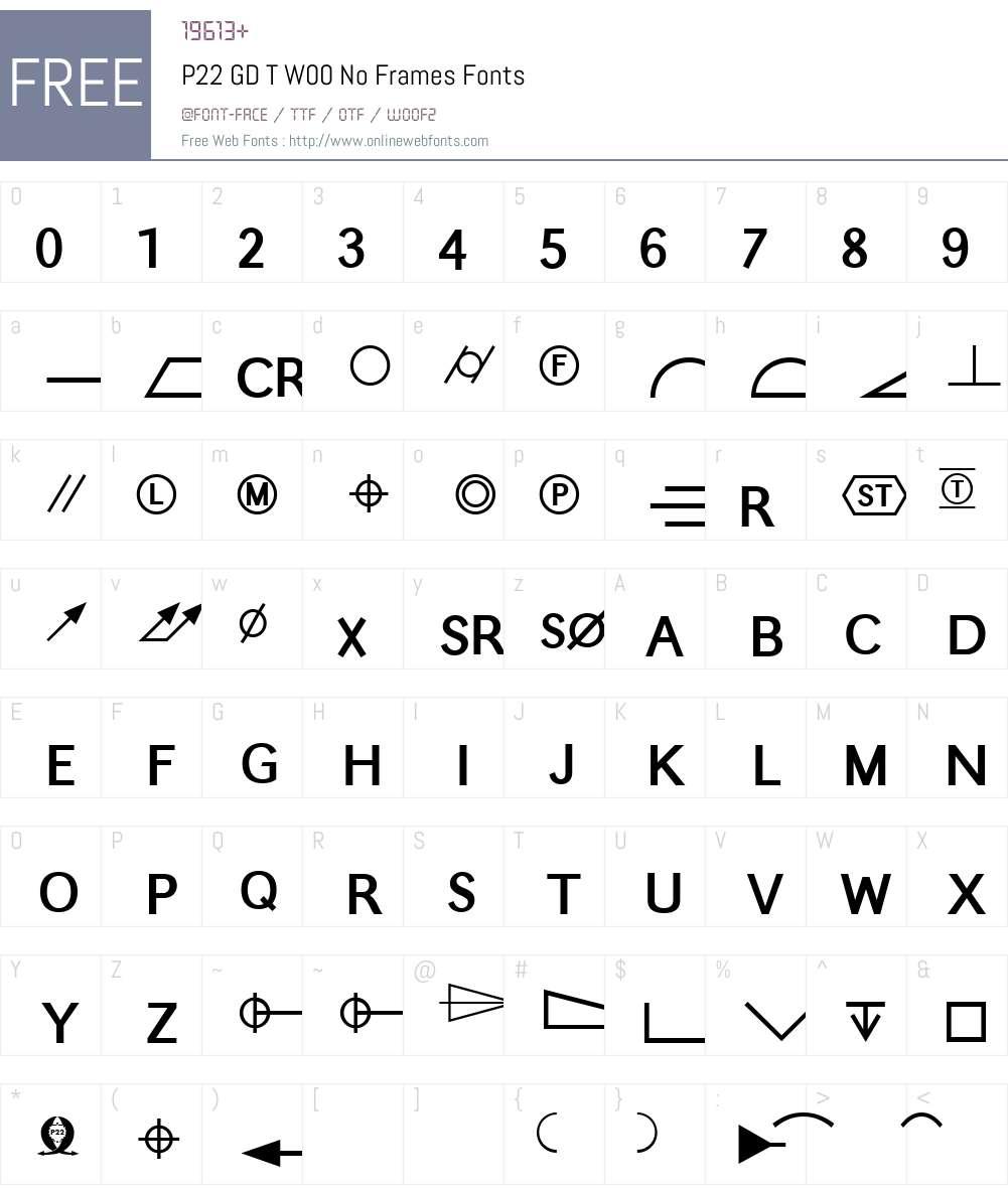 P22GDTW00-NoFrames Font Screenshots